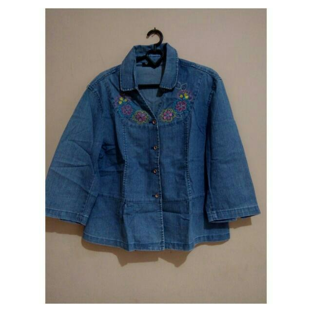 jaket jeans kombinasi bordir