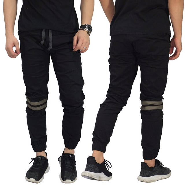 Jogger Pants Chino Double Stripe Black