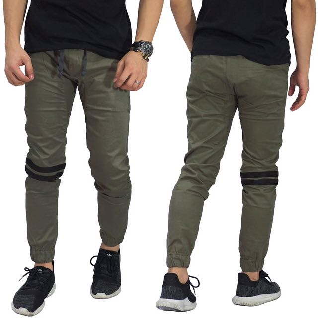 Jogger Pants Chino Double Stripe Green Olive