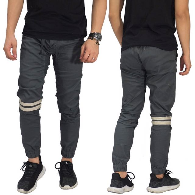 Jogger Pants Chino Double Striped Dark Grey
