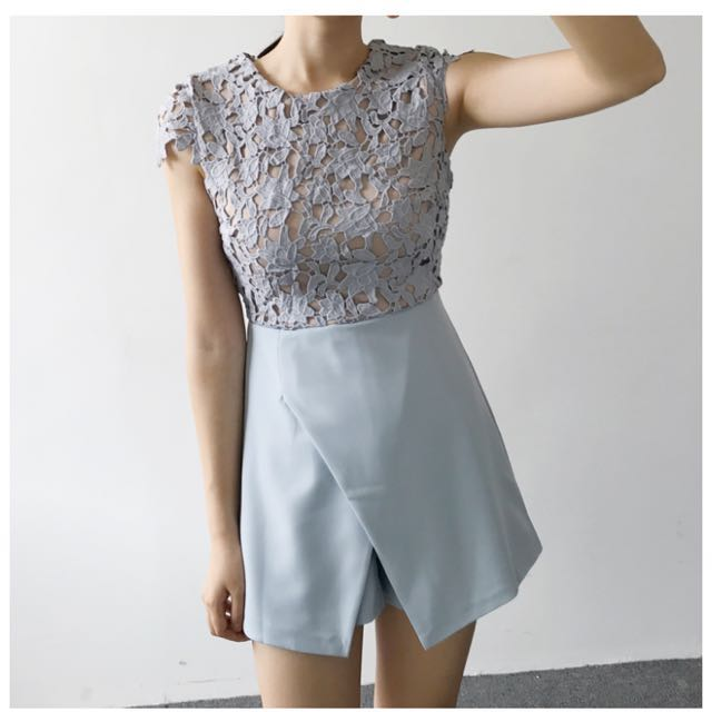 d46ad6c6305 Lace Crochet Powder Blue Romper (perfect for cny!)