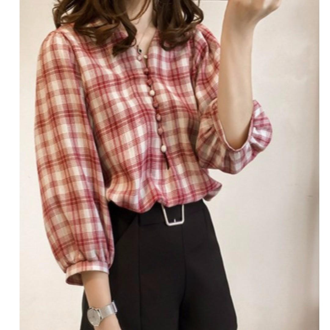 M~4XL秋裝大碼新款隨性寬鬆燈籠袖七分袖格子襯衫(三色)
