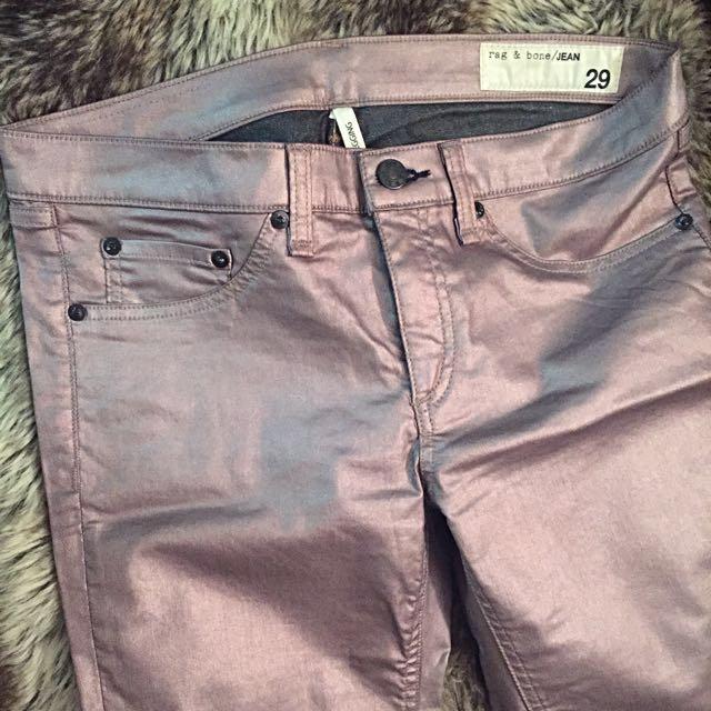 Metallic Pink Rag & Bone Skinny Jeans / Jeggings Size 29