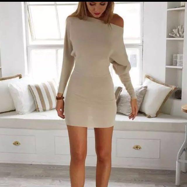 NEW Camel Long Sleeve mini dress S