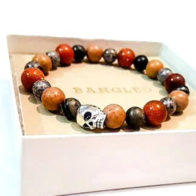Plated gemstone  skull bracelet