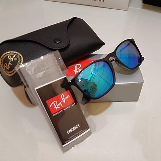 ddc71457aa Ray-Ban Chris Mirror Blue Lenses RB4187 601 55 Shiny BlackSunglasses ...