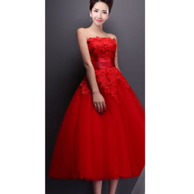 Red knee-length bridal dress