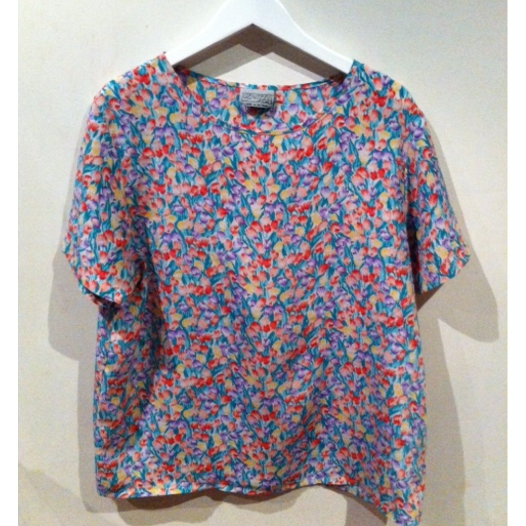 Retro Tulip Patterned Top Size 12