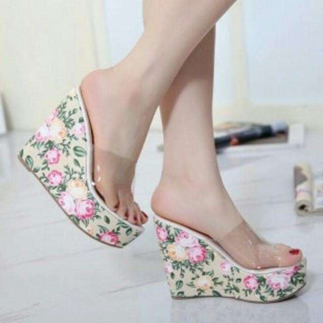 Sandal wedges selop / wedges bunga / higheels / heels wanita / sandal hak tinggi cewek, Olshop Fashion, Olshop Wanita on Carousell