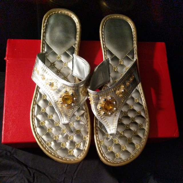 Silver sandals size 9