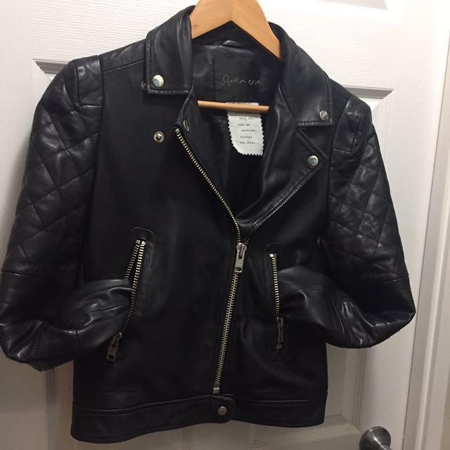 STELLA NOVA Moto Black Leather Jacket size 38 / M / Medium