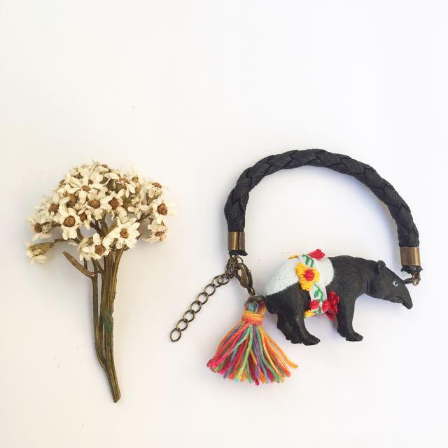 手作限定zoo系列馬來貘流蘇手鍊吊飾
