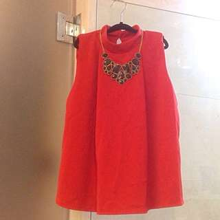 BN Beautiful luxe red work blouse