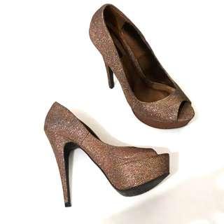 Forever 21 bronze peep toe heels 8
