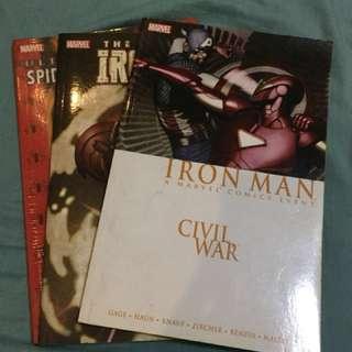 MARVEL Comic books (extremis,ironman civilwar, spiderman)