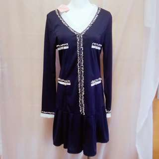 #95 全新L~XL碼深藍寶石彈性洋裝