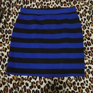Blue Stripes Bandage Skirt