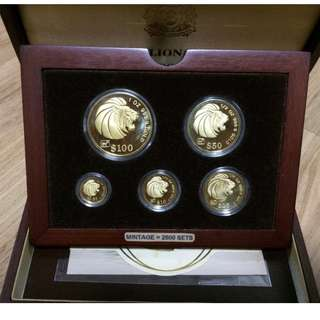 1991 Singapore Lion Gold Proof Complete 5 Coin Set 1991 年新加坡狮子金币证明集