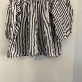 Stripe 'Luck & Trouble' Off The Shoulder Top Size 10