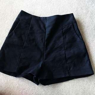 High waisted all black booty shorts size 8/small 10