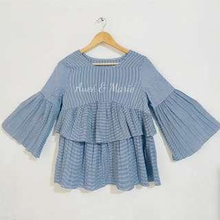 Zara inspired striped bell sleeve ruffle hem top