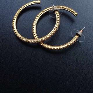 Cubic zirconia gold loop earring