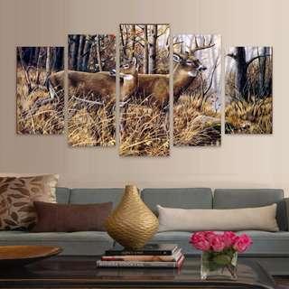 5 piece Framed Print Deer in woods
