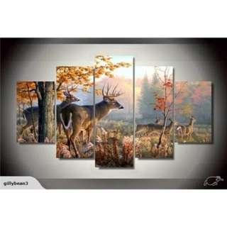 5 piece framed printed painting deer