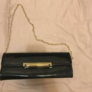 ALDO Patent Clutch with Gold Hardware