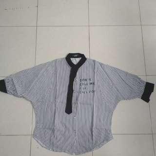 Jj fashion strip blouse black and white