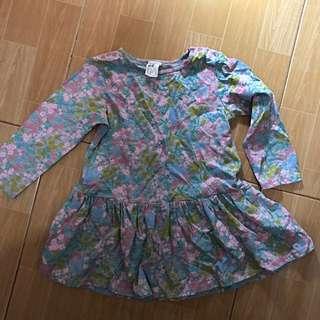 Pre-loved   H&M Kids Gray Floral Dress   Size 1 1/2 to 2yo