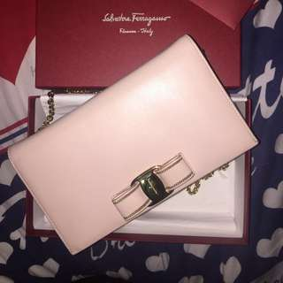 Authentic Salvatore Ferragamo Iconic Bow Wallet Chain Clutch