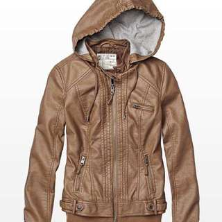 Garage Faux Leather Jacket with Detachable Hood