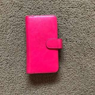 Hot pink wallet phone case Samsung galaxy S6