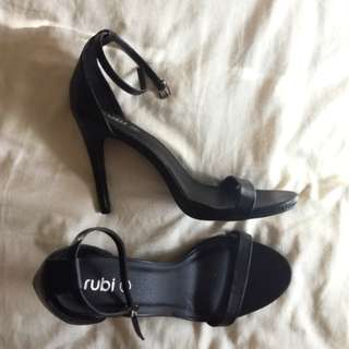 Black strappy rubi shoes heels