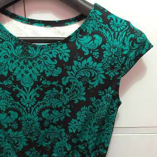 Classy green/black printed dress