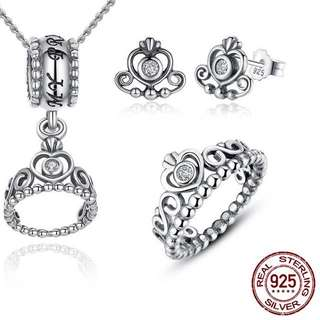Pandora earrings necklace and ring set