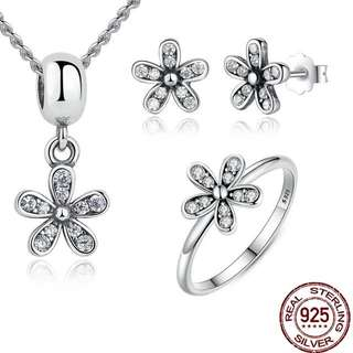 Pandora earrings necklace and ring ( set )