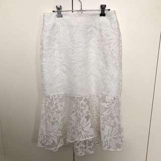 Dotting white lace peplum skirt Sze 6