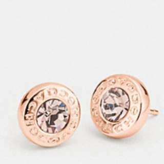 Coach Open Circle Stone Strand Earrings Rosegold