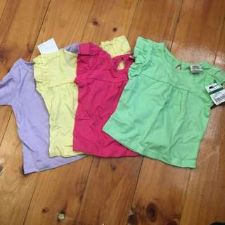 Cute Plain Baby Girl Tops Summer Colours 000