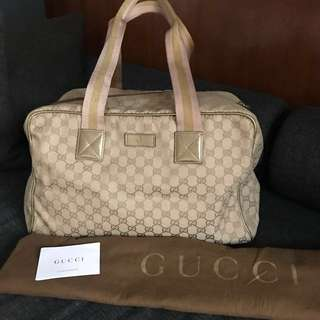 GUCCI Beige Canvas Collapsible Carry-on Duffle Bag