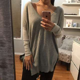 Long grey deep v sweater