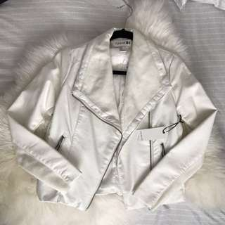 Forever21 - white faux leather jacket