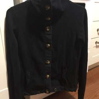 Roots black button up sweater