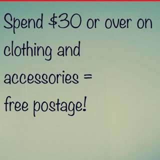 Free postage when spending over $30