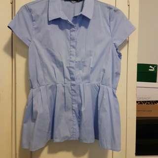 Zara peplum blue blouse