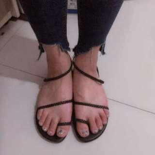 🚚 正韓 黑色編織涼鞋