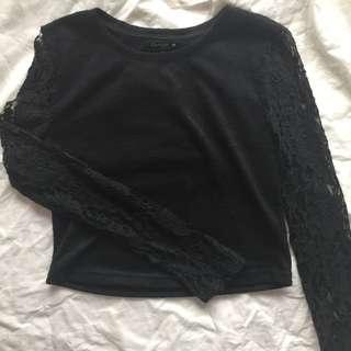 Black Lace Long Sleeved Crop Top