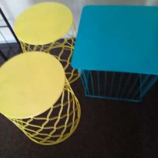 3 x colourful side tables